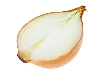 Onion bulb. Half isolated on a white background.