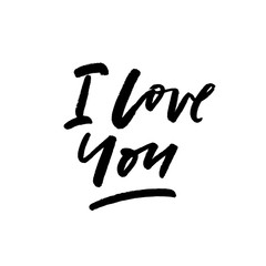 I love you. Valentine's Day calligraphy phrases. Hand drawn romantic postcard. Modern romantic lettering. Isolated on white background.