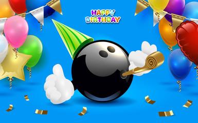 Bowling happy birthday party. Vector clip art illustration.