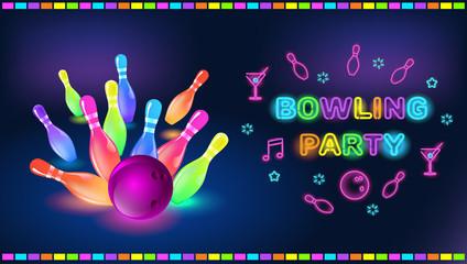 Bowling neon. Search photos clip art