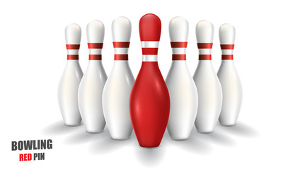 Bowling red pin. Vector clip art illustration.