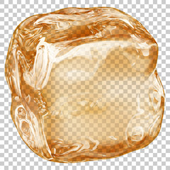 One big realistic translucent ice cube in amber color on transparent background. Transparency only in vector format