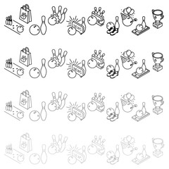 Bowling thin line isometric icons. Vector illustration.