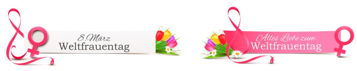 Weltfrauentag Termin 8. März - Banner Set mit Venus Symbol und Band als stilisierte Acht