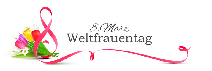 8. März Weltfrauentag - Geschwungenes Band mit stilisierter Acht,Tulpen Blumenstrauß und Typographie