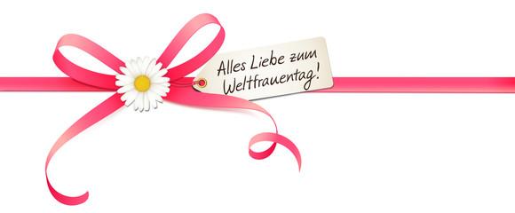 Weltfrauentag - Schleife mit Margeriten Blume, Etikett und Handschrift