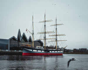 Glenlee, steel-hulled three-masted barque. She is now a museum ship at the Riverside Museum on Pointhouse Quay, Glasgow, known as The Tall Ship at Glasgow Harbour