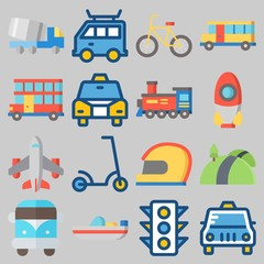 Icon set about Transportation with keywords helmet, road, double decker, airplane, truck and scooter