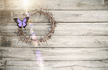 Easter Jesus crucifixion crown of thorns butterfly old wood