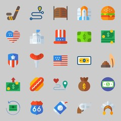 icons set about United States. with white house, money bag, money, hat, united states and location
