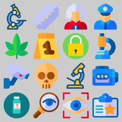 Icon set about Crime Investigation with keywords microscope, skull, evidence, tape recorder, razor and magnifying glass