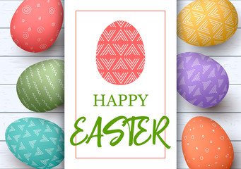 Happy Easter. Festive easter white wooden background. Easter colorful eggs in horisontal line with elegant ornaments. hand font