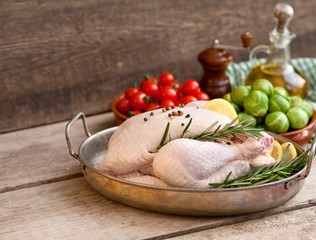 chicken, raw chicken with vegetables ready to cook