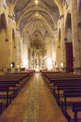 Europe, Spain, Balearic Islands, Mallorca. Esporles. Esglesia de Sant Pere, Church of St. Peter. Altar.