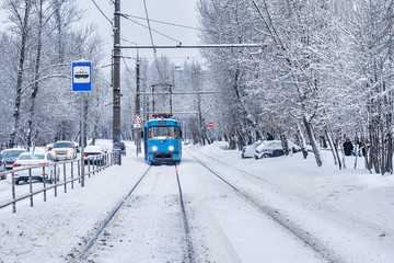 View of the winter street.