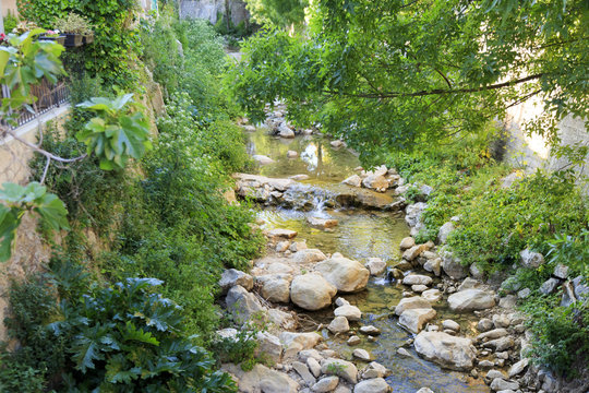Europe, Spain, Balearic Islands, Mallorca. Esporles. Creek.