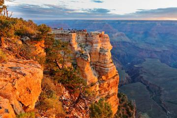 Wall Mural - Sunrise at Mather Point, Grand Canyon National Park, Arizona. Photo Shows a Group of Tourists Watching Sunrise at Mather Point which is famous for Sunrise.