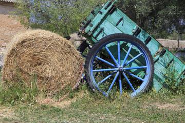 Europe, Spain, Balearic Islands, Mallorca.Palma. Wagon and hay bale.