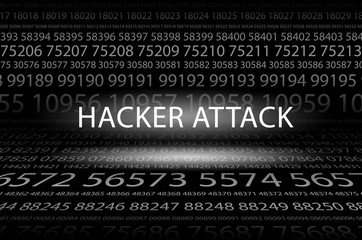 Abstract background image of black space from a set of rows of five-digit white numbers of different sizes and a luminous inscription in the center. Hacker attack