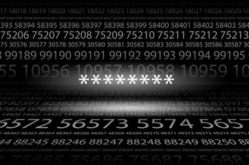 Abstract background image of black space from a set of rows of five-digit white numbers of different sizes and a luminous password stars in the center. Hidden symbols