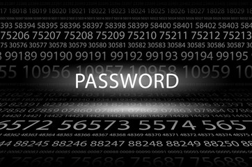 Abstract background image of black space from a set of rows of five-digit white numbers of different sizes and a luminous inscription in the center. Password
