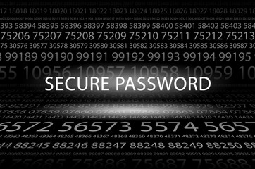 Abstract background image of black space from a set of rows of five-digit white numbers of different sizes and a luminous inscription in the center. Secure password