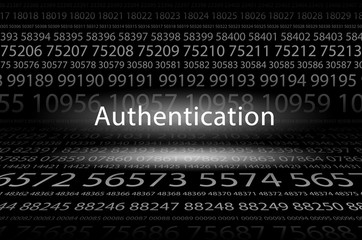 Abstract background image of black space from a set of rows of five-digit white numbers of different sizes and a luminous inscription in the center. Authentication