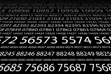 Abstract background image of a set of consecutive five-digit white numbers of different sizes on a black background in perspective. The concept of brute force for cracking passwords