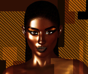 Black is Beautiful! A stunning close face of a beautiful black woman in a realistic 3d digital art render format. Gold background with geometric shapes