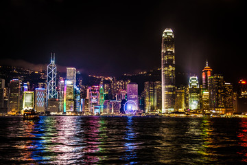 Panoramic view of Hong Kong harbour with  lightshows