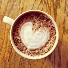 Heart drawing on hot chocolate cup