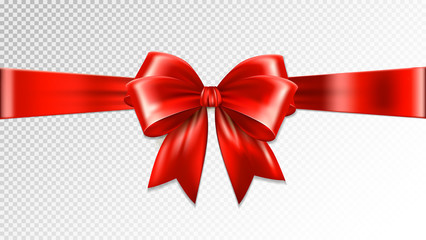 Shiny red satin ribbon on transparent background. Vector