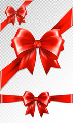 Set of red gift bows.Vector illustration. Concept for invitation, banners, gift cards, congratulation or website layout vector.