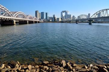 淀川河川公園から梅田方面を望む