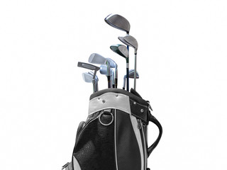 Golf bag isolated on white background. black and white