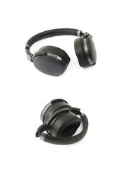 Black portable headphones isolated