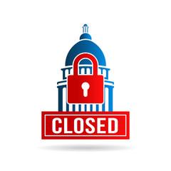 USA Government Shutdown. Vector Illustration