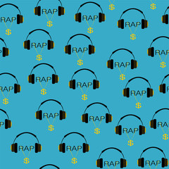 headphones and rap music seamless pattern