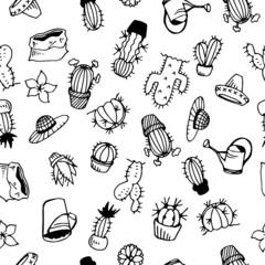 Cactus Illustration Pattern White