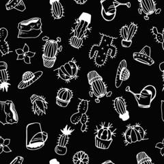 Cactus Illustration Pattern Black