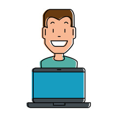 man with laptop computer vector illustration design
