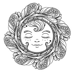 Ornamental sun coloring page.