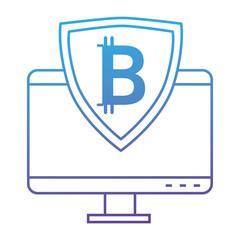 monitor computer with bitcoin shield vector illustration design