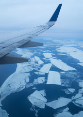 Frozen lake from the air