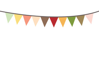 colored bunting party decoration festive. flags illustration. colorful party flags decoration to celebration event. colorful party flags on white background.