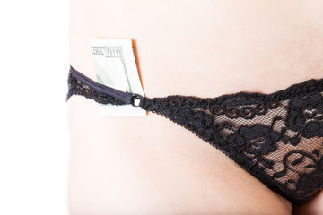 woman`s sexy body with 100 dollars banknote in a lacy knickers
