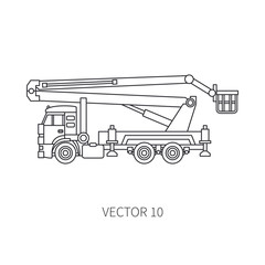 Line flat vector icon construction machinery truck auto crane. Industrial style. Corporate cargo delivery. Lift. Commercial transportation. Building. Business. Engineering. Diesel. Illustration design