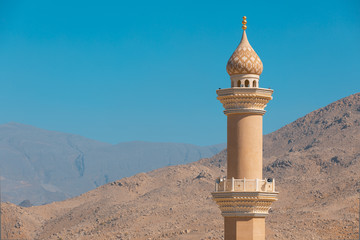 Acrylic Prints Middle East Mosque minaret in the desert