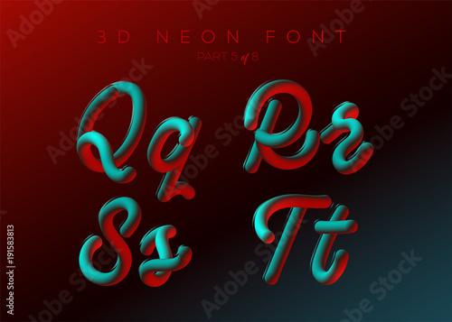 3D Neon Led Font  Liquid Matte Rounded Type  Neon Bubble
