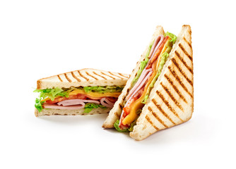 Foto op Plexiglas Snack Sandwich with ham, cheese, tomatoes, lettuce, and toasted bread. Front view isolated on white background.